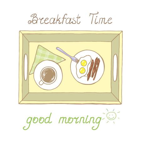 Bandeja con taza de bebida caliente y huevos fritos con salchichas en el vector Foto de archivo - 85467713