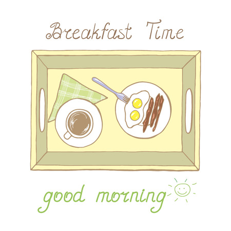 Tray with cup of hot drink and fried eggs with sausages in vector