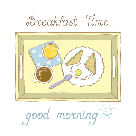 Tray with cup of hot drink and fried eggs with sandwiches in vector