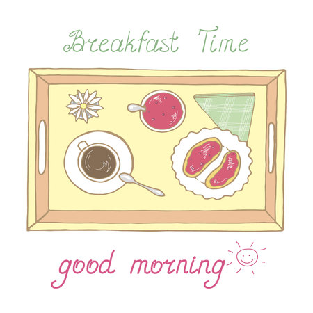 Tray with cup of hot drink and toasts in vector Ilustração