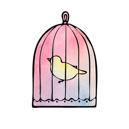 Watercolor birdcage with a yellow bird in vector Illustration
