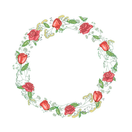 Round floral frame with roses in vector