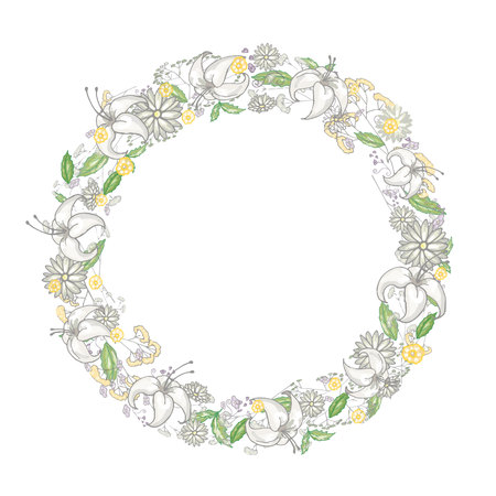 Round floral frame with lilies and camomiles in vector Illustration