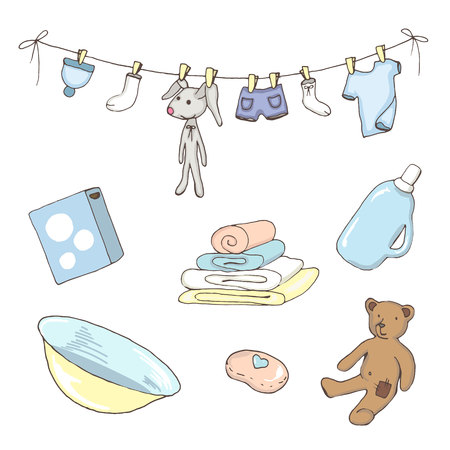 Set of washed baby clothes in vector Illustration