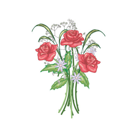 Bouquet of three red roses in vector