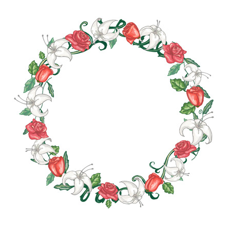 Round floral frame with roses and lilies in vector