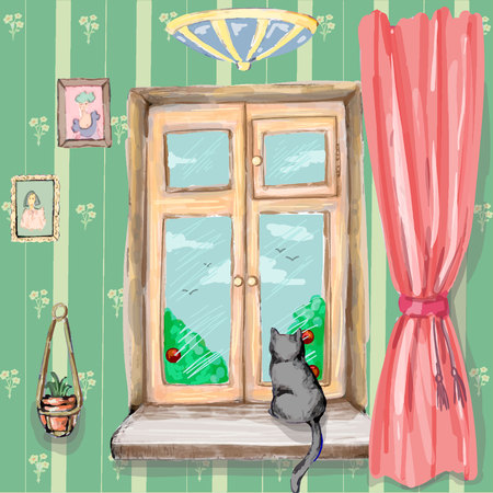 Black cat is sitting on the window and looks oudoors in vector