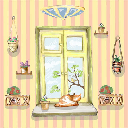 Cat is sitting on the window and looks outdoors in vector
