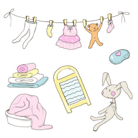 Ensemble de vêtements de bébé lavé dans un vecteur Banque d'images - 85555040