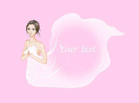Beauté fille brune couverte de tissu de soie en vecteur Banque d'images - 85554591