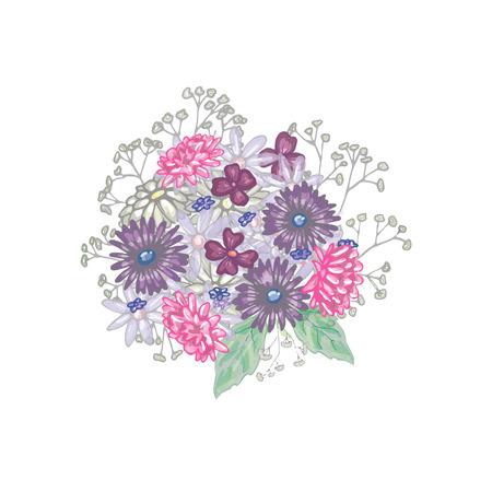 Bouquet of wildflowers in vector