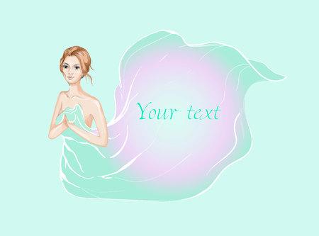 Schönheit Ingwer Mädchen von Seide Stoff in Vektor bedeckt Standard-Bild - 85554594