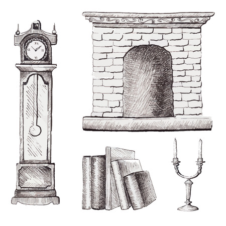 Set of graphic furniture with books, candles, watch and fireplace in vector Ilustracja