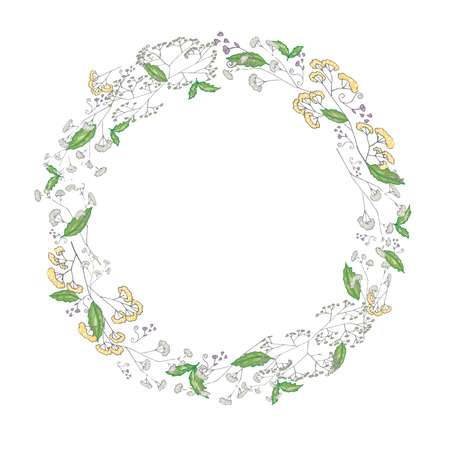 Round floral frame in vector
