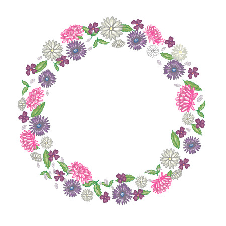 Round floral frame with chrysanthemums and chamomiles  in vector