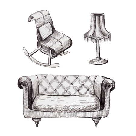 Set of graphic furniture with chair, sofa and lamp in vector