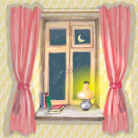 窓、ランプ、本、ベクトルの赤いカーテンが付いている平らな内部