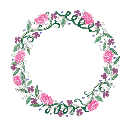 Round floral frame with chrysanthemums in vector