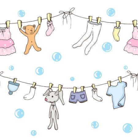 Naadloze backgroung van gewassen babykleren in vector Stock Illustratie