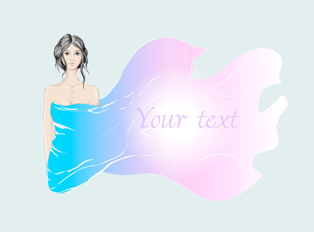 Beauty brunette girl covered by silk fabric in vector