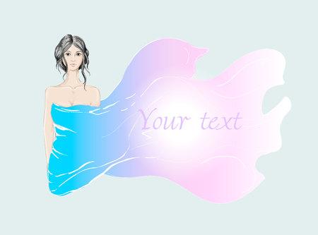 Schoonheids donkerbruin meisje omvat door zijdestof in vector Stock Illustratie