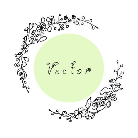 Outline round floral frame in vector Çizim