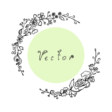 Outline round floral frame in vector Illustration