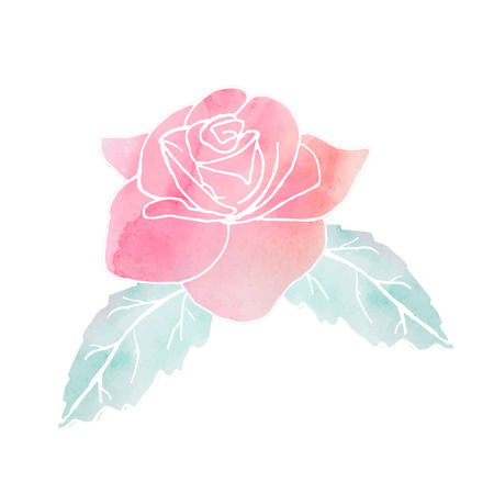 Red watercolor rose with green leafs in vector