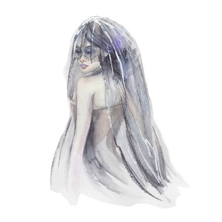 Pretty girl with black dress and veil in watercolor