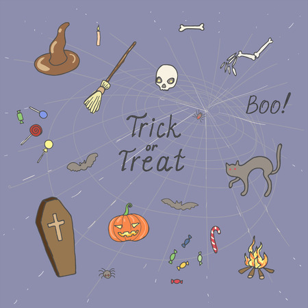 Halloween set pattern design with skull, pumpkin, candy, crow, coffin, broom and cat