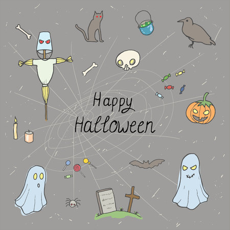 Ontwerp van het Halloween het vastgestelde patroon met schedel, pompoen, suikergoed, spook, raaf, graf, vogelverschrikker en kat