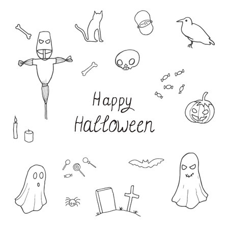 spider web: Outline halloween set pattern design with skull, pumpkin, candy, crow, coffin, broom and cat