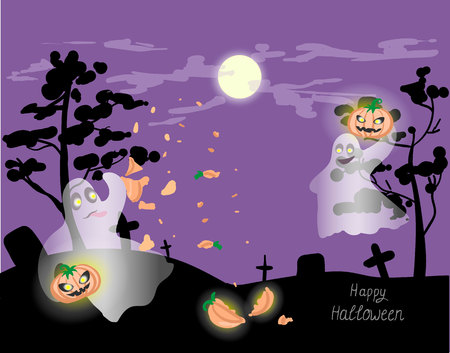 halloween ghosts playing in the cemetery