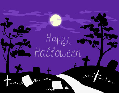 Spooky card for Halloween. Blue background with full moon, tombstones, cross and road. Vector Illustration