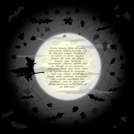 autumn background: Halloween frame with flying witch, bats and leaves on full moon Illustration