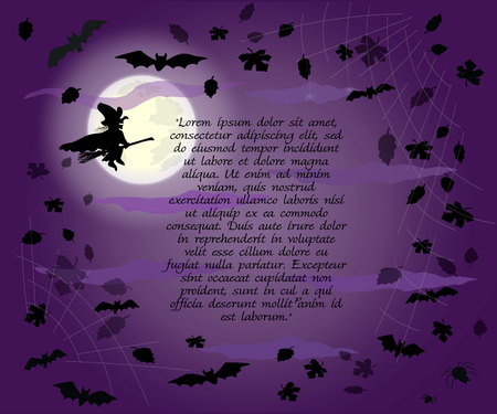 Halloween frame with flying witch, bats and leaves on  full moon