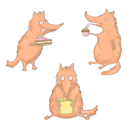 Set of foxes, that are eating sndwich, cakes in vector