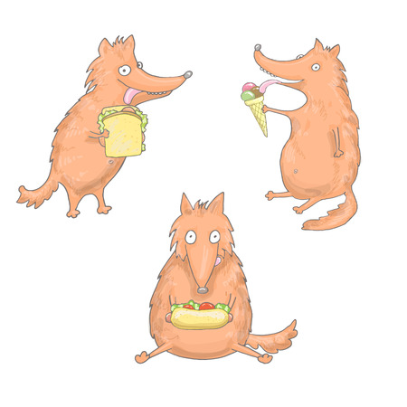 Set of foxes, that are eating sandwich, hot dog, ice cream in vector Illustration
