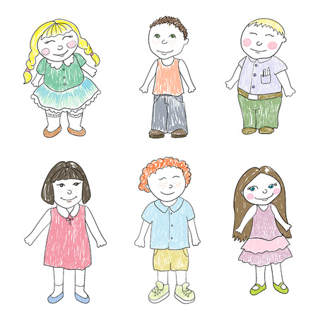 Set of six boys and girls Illustration