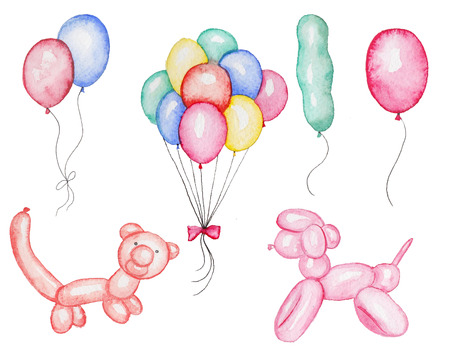 Set of Inflatable dog, bear and another ballons in watercolor Stock Photo
