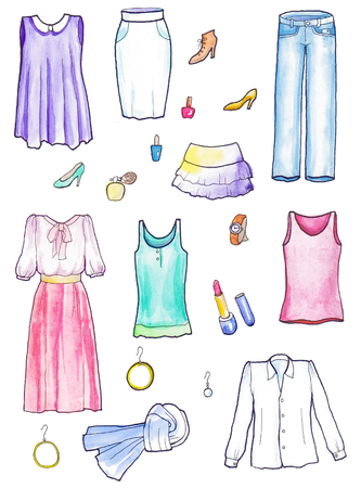 Set of female clothes.  Watercolor hand painted illustration Banco de Imagens