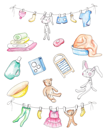 Set of washed baby clothes. Watercolor hand painted illustration Imagens