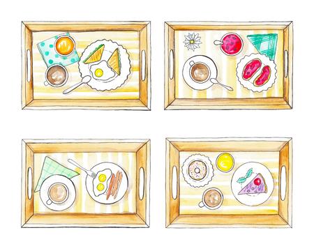 朝食と 4 つのトレイ。水彩の手描きのイラスト