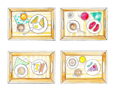 Four trays with breakfast. Watercolor hand painted illustration