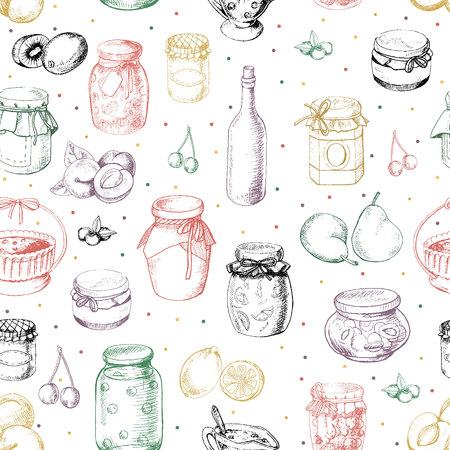 Graphic seamless background pattern with jams and fruit in vector