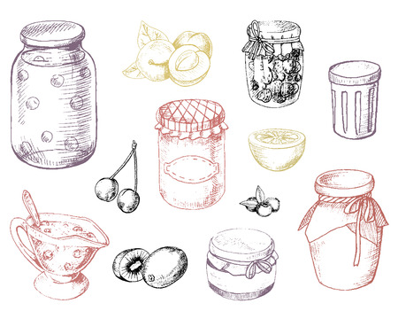 Set of jam, berries and fruits in vector