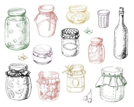Set jars of jam in vector