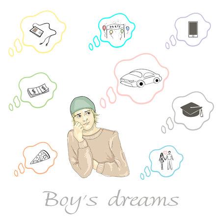 Conjunto de sueños de niño sobre coche, pizza, dinero, fiesta, educación, teléfono, jugador y relación en vector Foto de archivo - 88142866