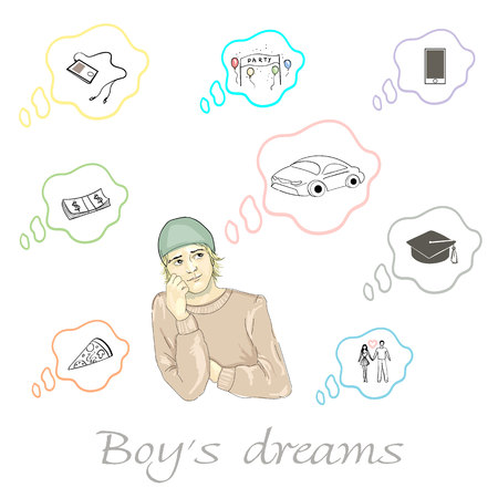 Set of boys dreams about car, pizza, money, party, education, phone, player and relationship in vector