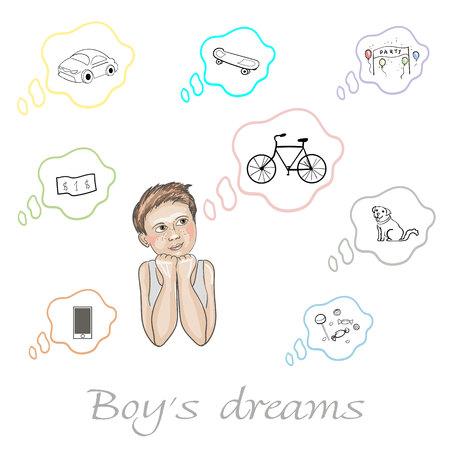 Reeks dromen van de jongen over auto, dollar, hond, fiets, suikergoed, skateboard, telefoon en partij in vector